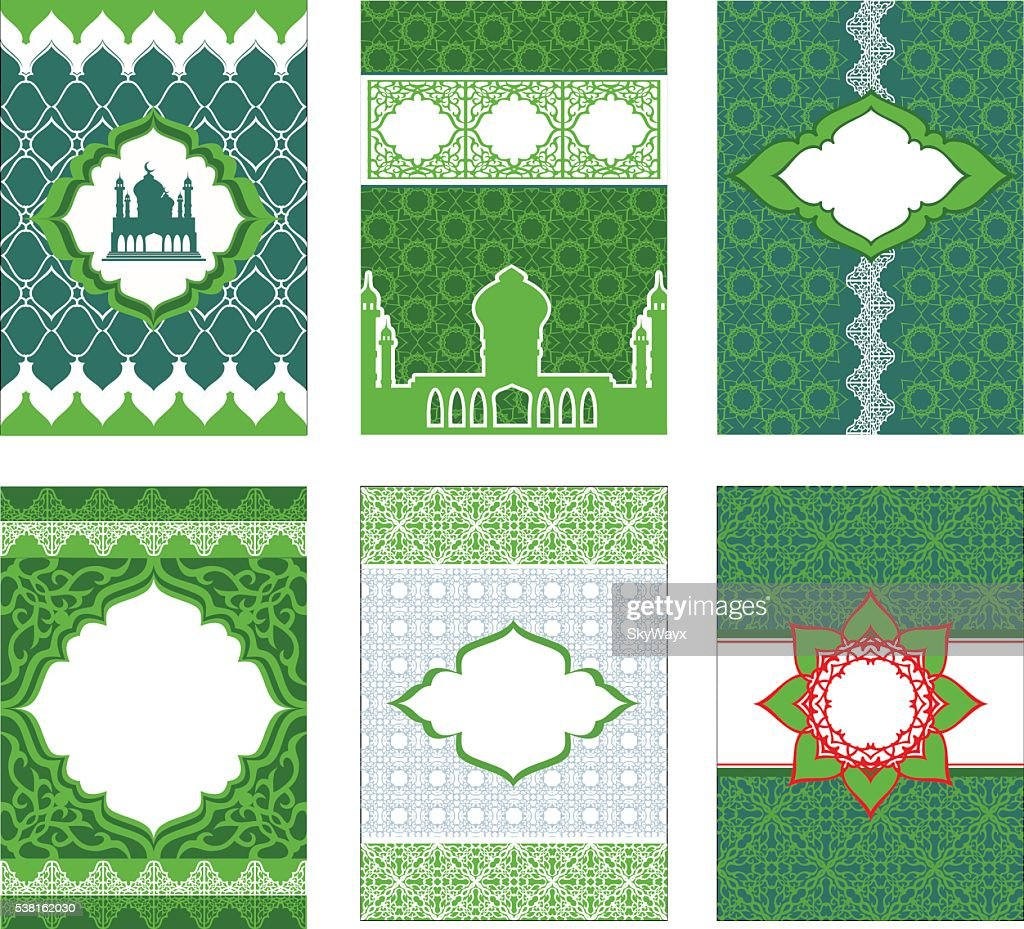 Leaflets, booklets, banners in Arabic and Islamic style, in gree