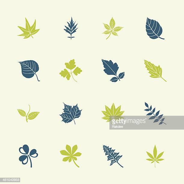 leafs shape icons - color series | eps10 - hemp stock illustrations, clip art, cartoons, & icons