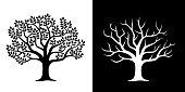 Leafy tree and scattered tree illustration set
