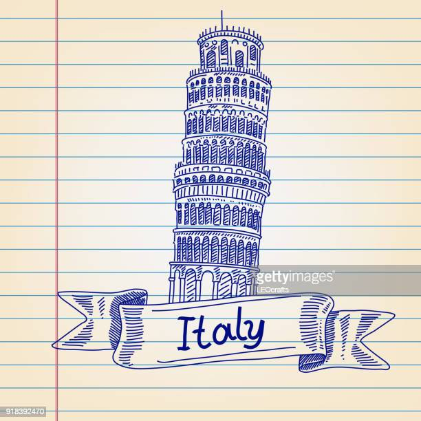 leaning tower of pisa, italy, drawing on lined paper - leaning tower of pisa stock illustrations, clip art, cartoons, & icons