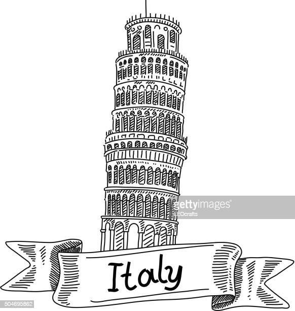 leaning tower of pisa, italy, drawing - leaning tower of pisa stock illustrations, clip art, cartoons, & icons