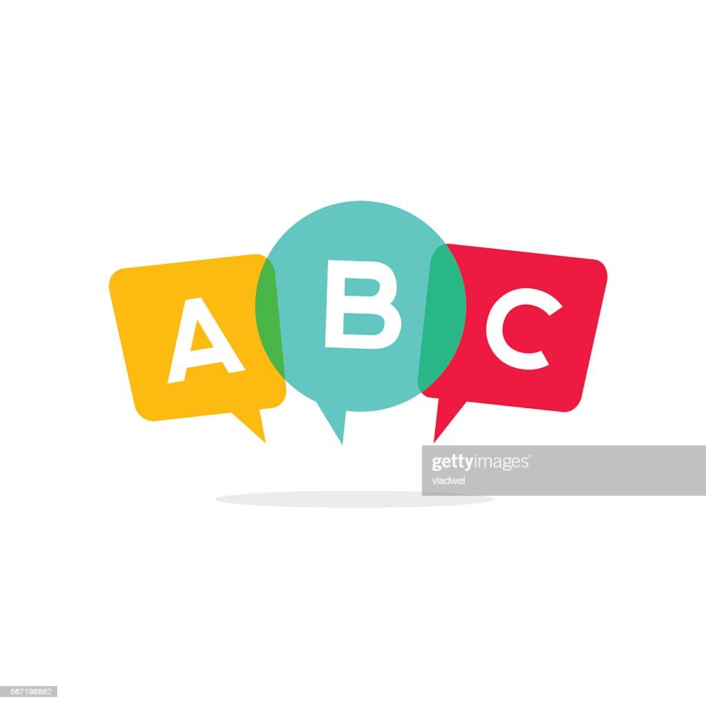 Learn ABC letters vector icon, child speaking conversation logo concept