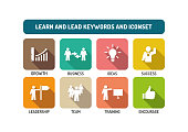 Learn and Lead Flat Icon Set