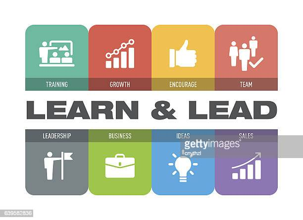 learn and lead icon set - role model stock illustrations, clip art, cartoons, & icons