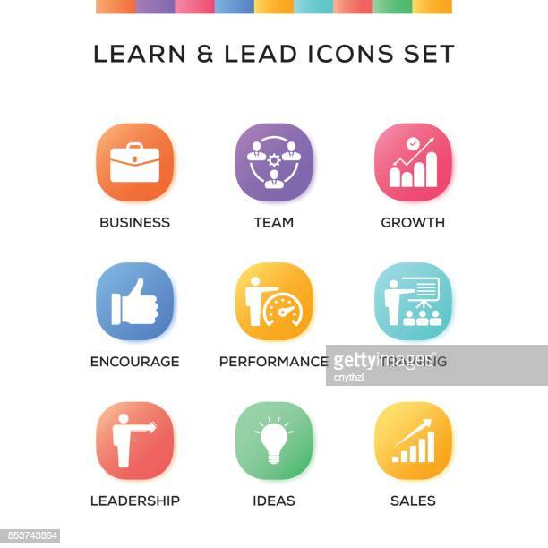 Learn and Lead Icons Set on Gradient Background