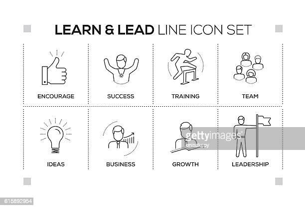 Learn and Lead keywords with monochrome line icons