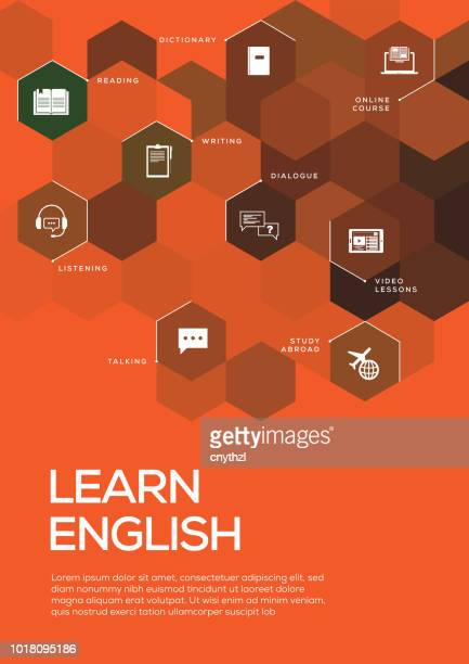 learn english. brochure template layout, cover design - english language stock illustrations