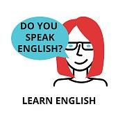 Learn english icon, flat thin line vector illustration