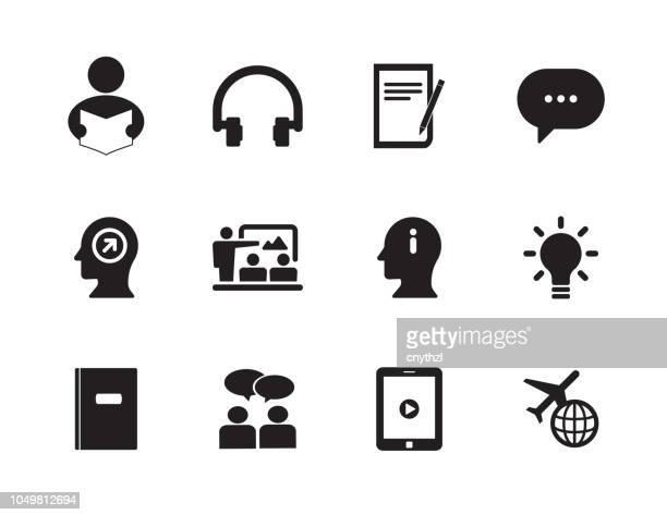 learn english icon set - literature stock illustrations
