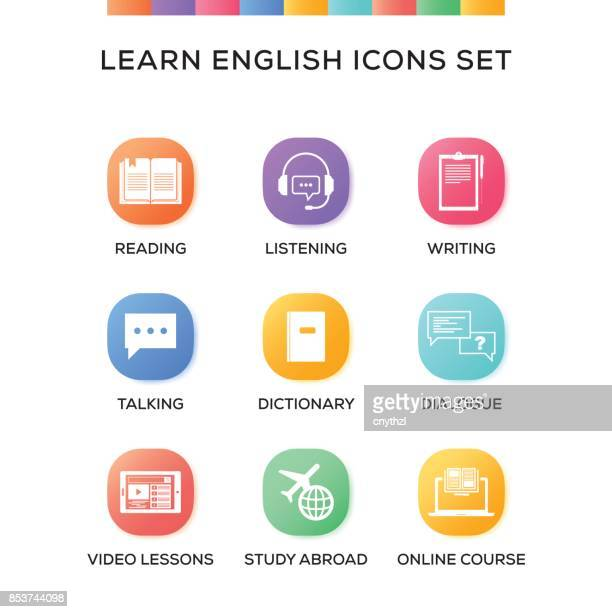 learn english icons set on gradient background - english language stock illustrations