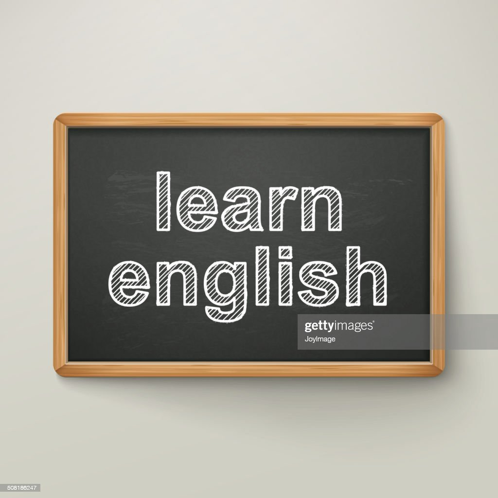 Learn English On Blackboard In Wooden Frame Vector Art | Getty Images