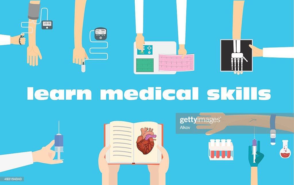 Learn medical procedures illustration. Medical education conceptual illustration.