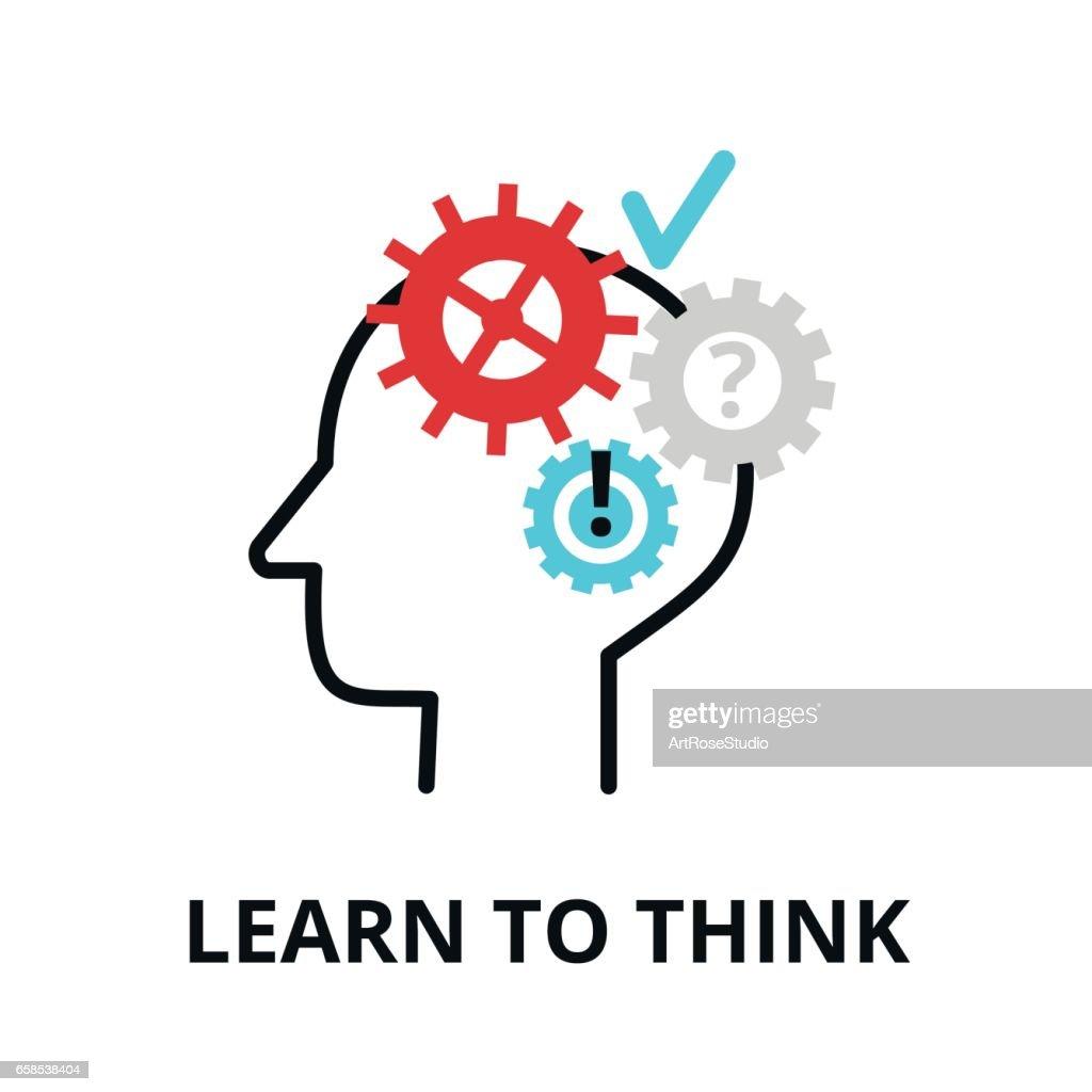 Lernen Sie Denken Symbol Flache Dünne Linie Vektorillustration ...