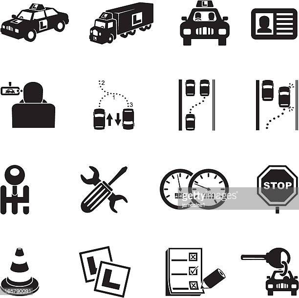 illustrations, cliparts, dessins animés et icônes de l'apprenti conducteur icônes - permis de conduire