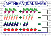 Learning addition by example of vegetables for children, counting activity. Math educational game for children. Vector illustration