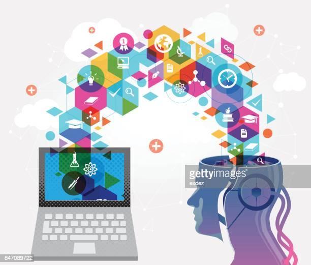 ilustrações, clipart, desenhos animados e ícones de aprendendo inteligência artificial - estudando