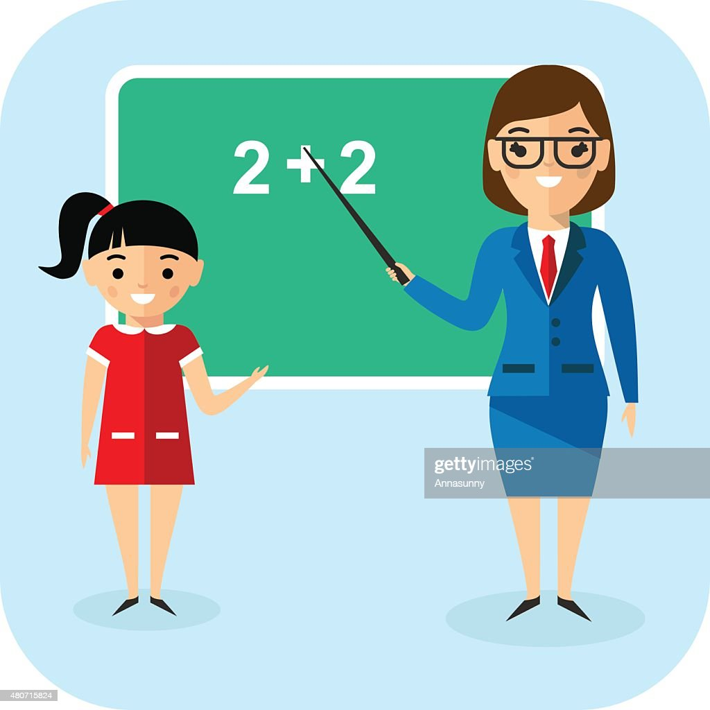 Learning  concept with pupil and teacher near school board