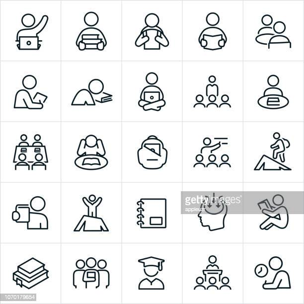 learning icons - learning stock illustrations