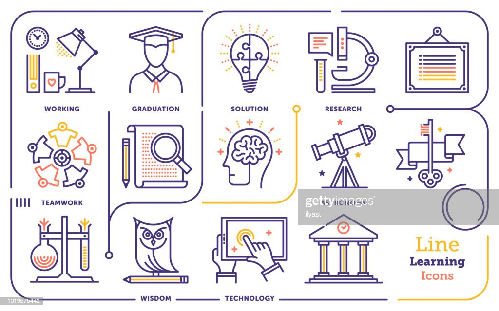 Learning Line Icon Set : stock illustration
