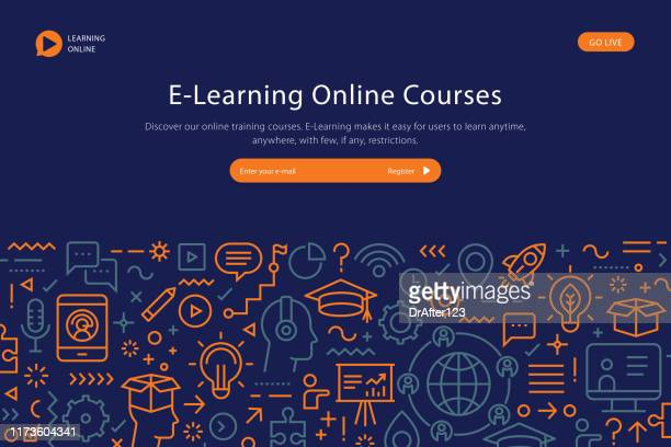 e learning online courses website template - web conference stock illustrations