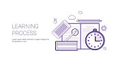 Learning Process Education Concept Banner With Copy Space Thin Line