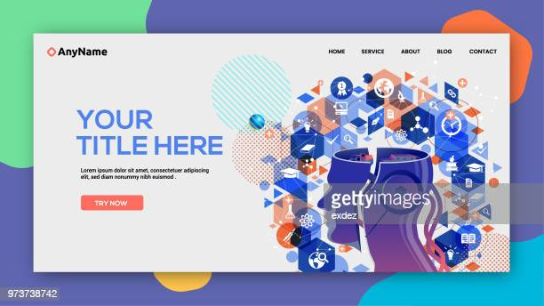 ai learning website template - machine learning stock illustrations