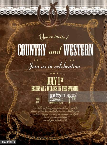 Leather and lace country and western invitation design template