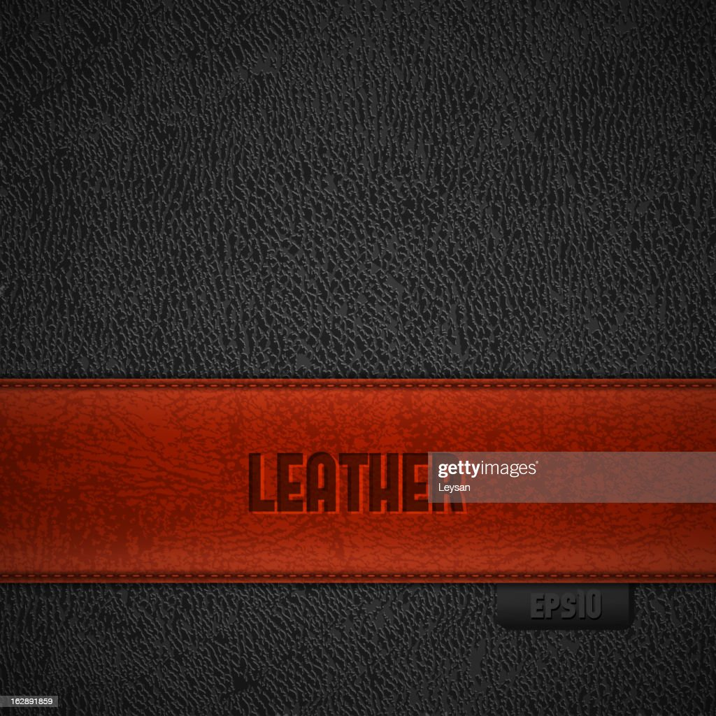 Leather backgroud with red stripe