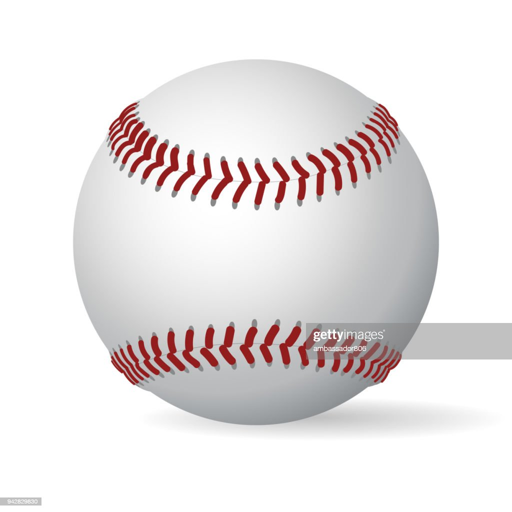 Leather baseball ball. vector