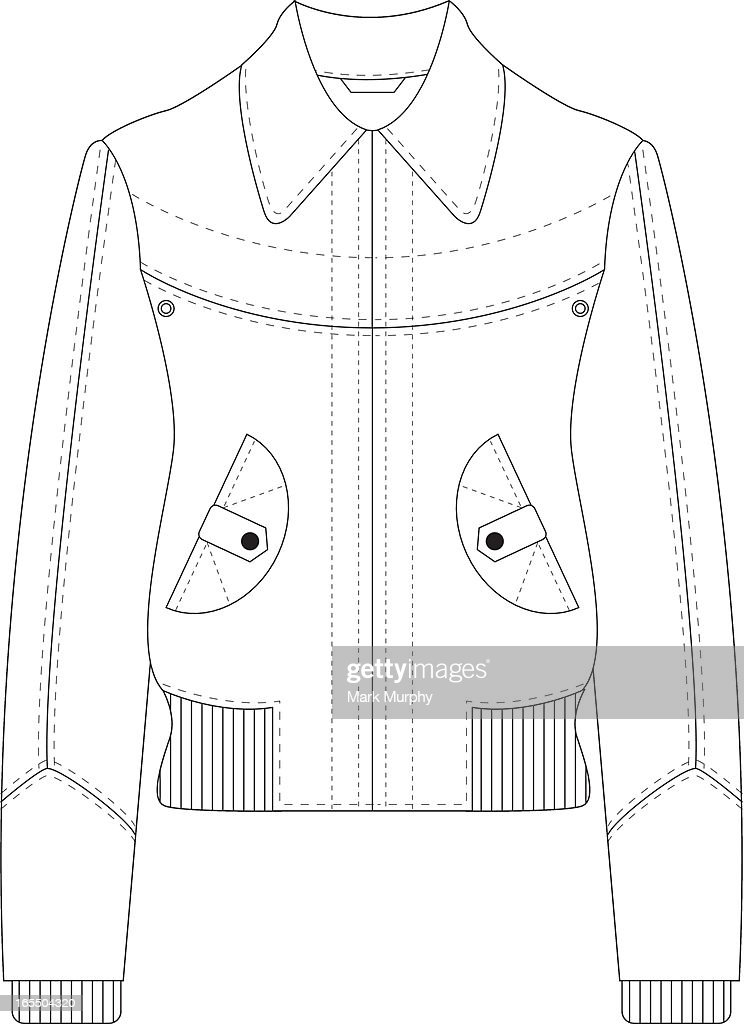 Leather Bomber Jacket Template : stock illustration