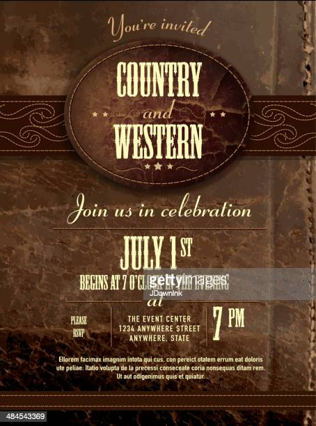 Leather country and western invitation design template