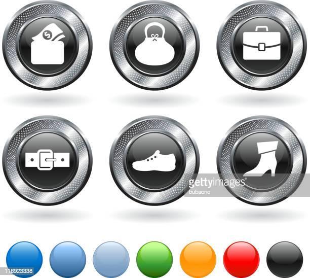 leather goods royalty free vector icon set on metallic button