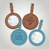 Leather luggage tag labels that have writing on front