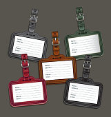 Leather luggage tags labels.