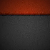 Leather Texture Background with Stitched Red Stripe