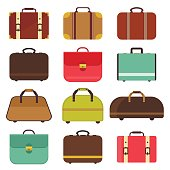 Leather travel bag vector
