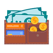 Leather wallet with credit cards, dollar bills, coins.