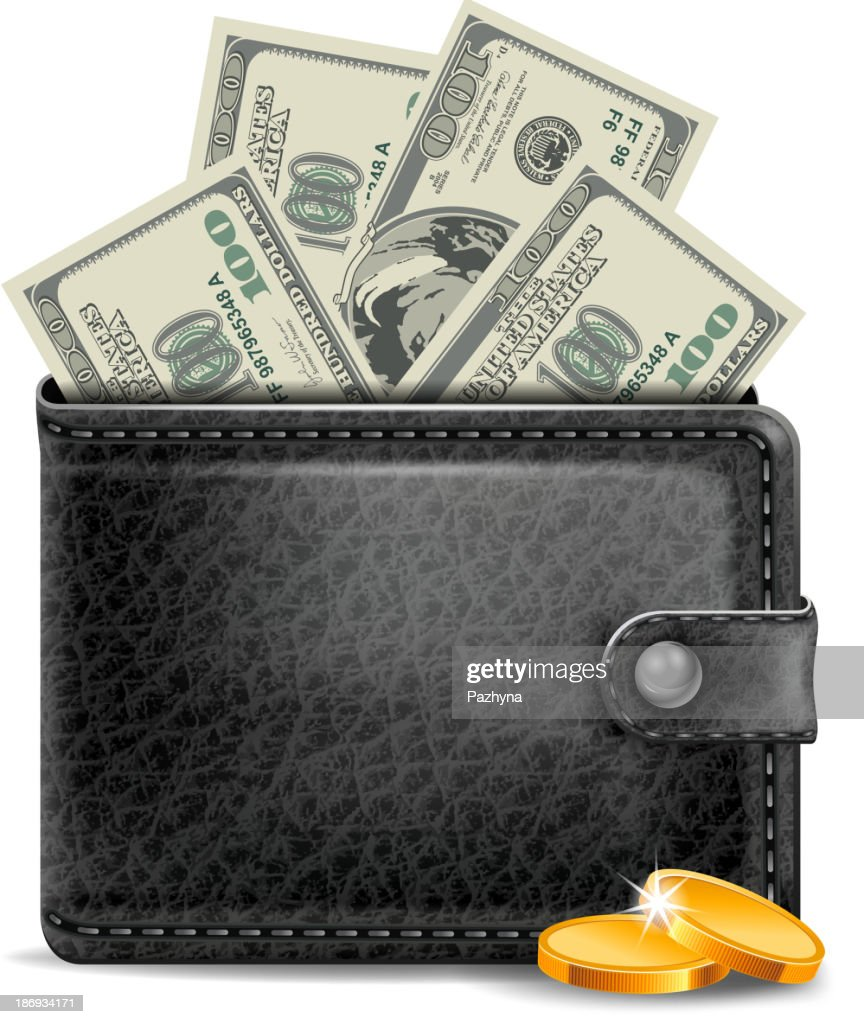 Leather wallet with gold coins and hundred dollar bills