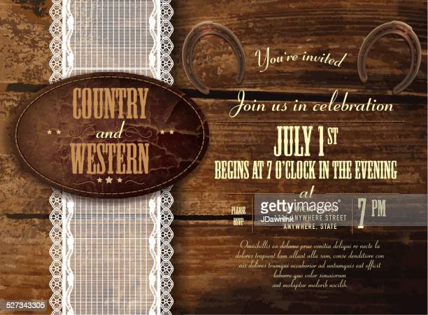 Leather, wood and lace country and western invitation horizontal composition