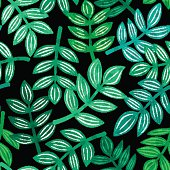 Leaves of tropical plants, vector seamless pattern