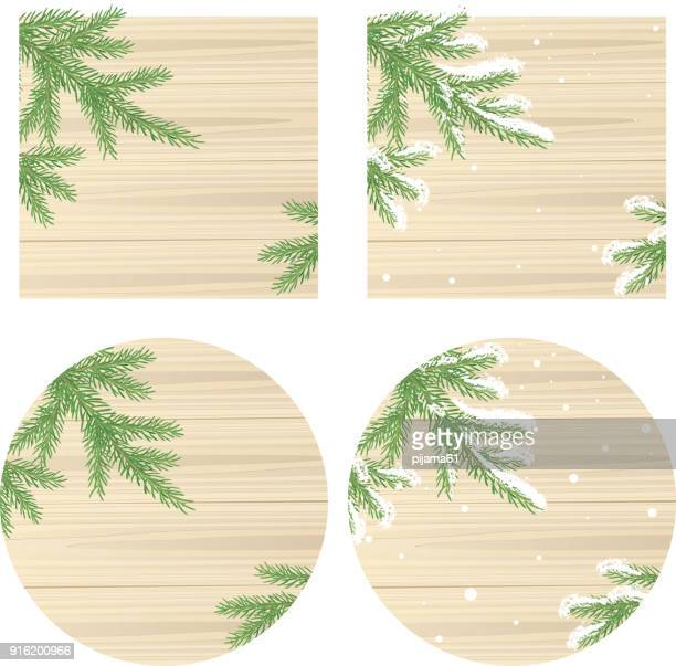 leaves of wood and pine tree - christmas travel stock illustrations, clip art, cartoons, & icons