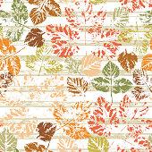 Leaves Seamless pattern. Leaf imprints with grunge brush strips. Foliage. Leaf print