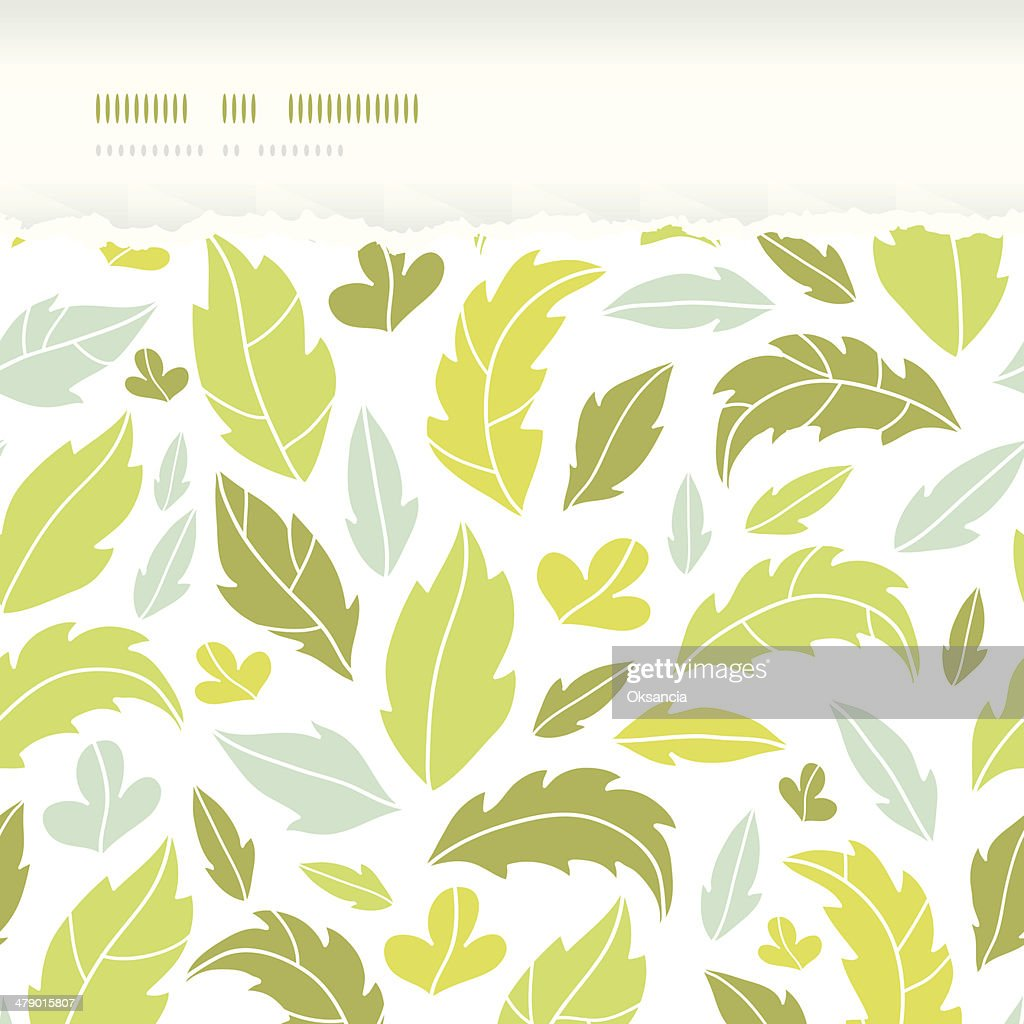 Leaves silhouettes horizontal torn seamless pattern background