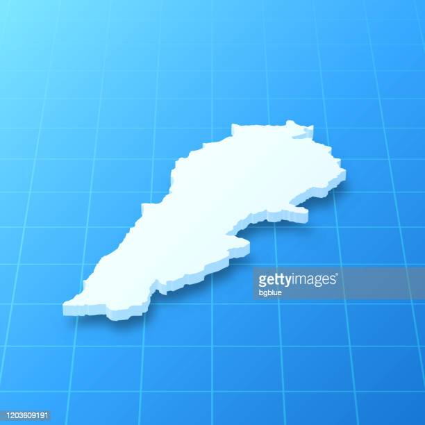 lebanon 3d map on blue background - lebanon country stock illustrations