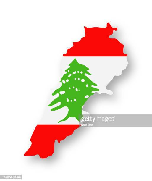 lebanon - contour country flag vector flat icon - lebanon country stock illustrations, clip art, cartoons, & icons