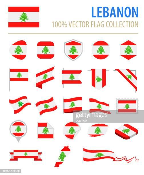 lebanon - flag icon flat vector set - lebanon stock illustrations