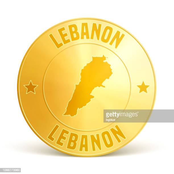 lebanon - gold coin on white background - lebanon country stock illustrations, clip art, cartoons, & icons