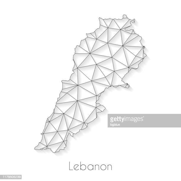 lebanon map connection - network mesh on white background - lebanon country stock illustrations
