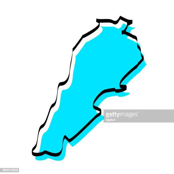 lebanon map hand drawn on white background, trendy design - lebanon country stock illustrations