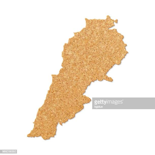lebanon map in cork board texture on white background - lebanon country stock illustrations, clip art, cartoons, & icons
